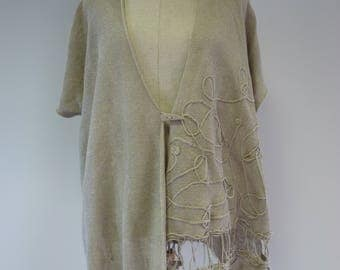 Boho taupe linen vest, XL size. Made of pure linen.