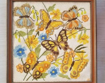 Vintage Framed Crewel Butterfly Flowers Embroidery Handmade Wall Art