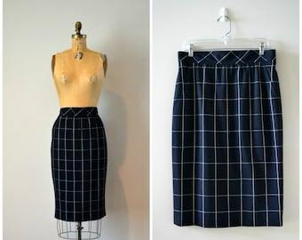 Vintage Escada By Margaretha Ley Wool Skirt | Straight Pencil Skirt | Midi Skirt | Dark Navy and White Skirt| Minimalistic Plaid | Size 10