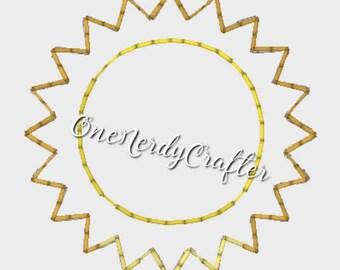 Sun Flasher Feltie Embroidery Digital Design File