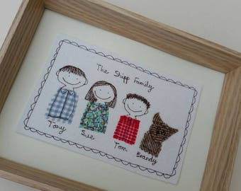 Personalised Portrait / Personalised Family Portrait / Custom Portrait / Family Tree / Personalised Textile Picture by Justsosara.