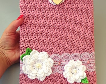 """Sleeve for Ipad and table Samsung, Acer (up to 10.5""""), soft tablet case, soft iPad sleeve with flower application and lace"""