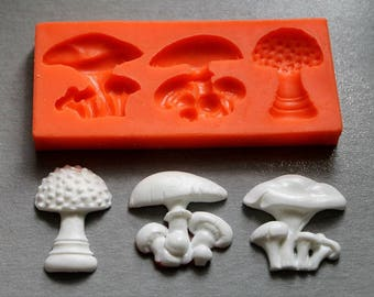 Silicone Mould / Mushrooms 3 / Sugarcraft Cake Decorating Fondant / fimo mold
