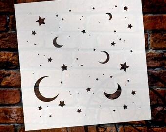 Moon & Stars-Pattern Stencil-Select Size- SKU:STCL706