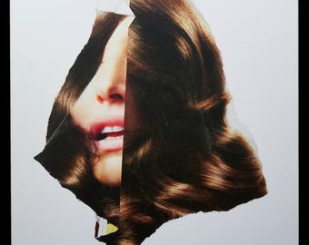 "Karen Savage Collage ""Face"" Series Color Photograph Photo Vintage Modern Art"