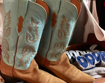 Womens Turquoise cowboy boots...Brown Suede size 7 1/2 -8