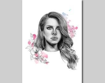 Lana Del Rey Sketch Print
