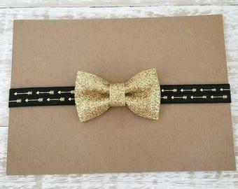 Gold Bow Headband, Black and Gold Bow Headband, Baby Girl Headband, Baby Headband, Glitter Bow, Newborn Headband, Girls Headband, Gold Bows