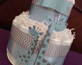 Diaper Cake - Two Tier Diaper Cake- Giraffe Diaper Cake - Boy Diaper Cake - Shower Diaper Cake - Centerpiece - Newborn - Shower Decoration
