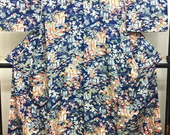 "KIMONO Komon  "" Spring and Autumn "" Chirimen Japanese traditional dancing blue silk kimono"