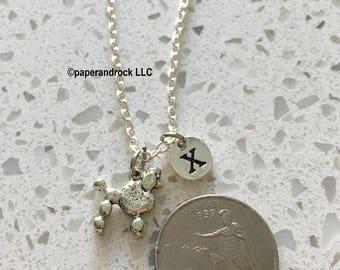 KIDS SIZE - Poodle initial necklace, Poodle jewelry, silver poodle necklace, Pet jewelry, dog breed necklace, silver Poodle, Poodle jewelry