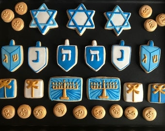 12 HANNUKAH jewish HOLIDAY themed cookies