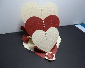 ombre Burgundy and ivory heart support