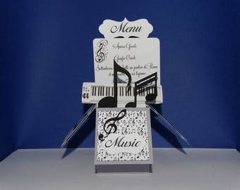 Music note menu pop up card