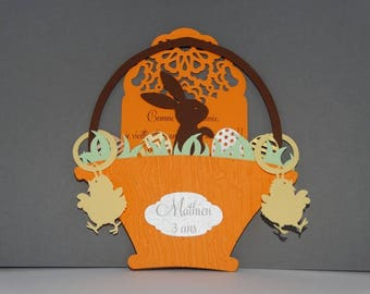Basket of Easter Bunny and Chick card