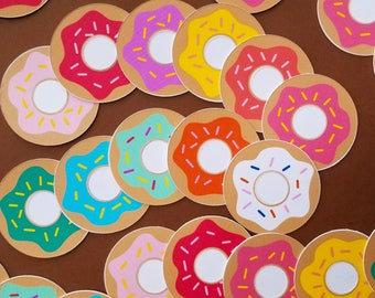 2 Inch Donut Stickers / Donut Party Decorations / Donut Stickers / Donut Grow Up Decorations / I Donut Care Decorations / Donut Party Supply