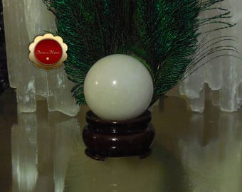 40 mm White Jade Sphere, Carved White Jade Sphere, Prosperity Stone, Good Luck, Amplifies Energies of Peace and Harmony, Energy Healing