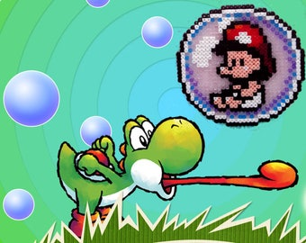 Baby Mario in the game Yoshi Island from bubble