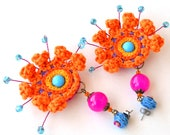 big orange earrings, funky earrings, colorful festival earrings, mexican earrings, large orange earrings, crochet earrings, crochet jewelry