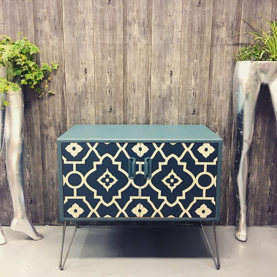 Upcycled Gplan cabinet with industrial hairpin legs