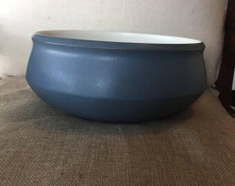 Vintage Denby Blue Echo Large Serving Bowl - Made in England - Mid Century modern - Stoneware pottery, fruit, salad, vegetable