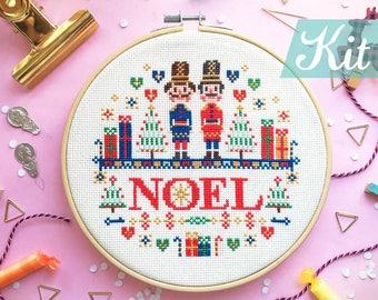 Xmas Cross stitch KITs Noel cross stitch Christmas DIY Nutcrackers cross stitch Christmas needlepoint KIT Embroidery  - Nutcracker Christmas