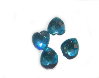 10 Mermaid Blue Crystal Heart Resin Flatbacks - Resin Cabochons