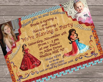 Elena of Avalor Party Invitation - Made for two - friends, siblings, etc - includes a picture of each child, and multiple layers - elegant