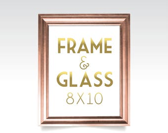 8 x 10 FRAME & GLASS . Gold Wedding Rose Gold Silver White Black Rustic Wood Picture Frame No Glass . 5 x 7in to 24 x 36in sizes available