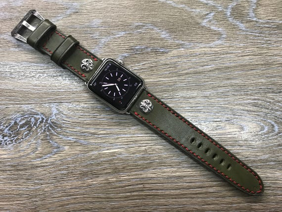 Apple Watch Band, Chrome Heart, Apple Watch 38mm, Leather Watch Band, Army Green Leather Watch strap, Apple watch 42mm, iwatch, Series 1 & 2