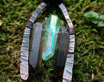 Green Titanium Quartz & Smoky Quartz Copper Pendant // Smoky Quartz Pendant Necklace // Green Mystic Quartz Smoky Quartz Hammered Copper