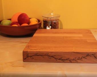 Chopping Board - Rough cut hand burned rustic oak board - kitchen ideas - gift