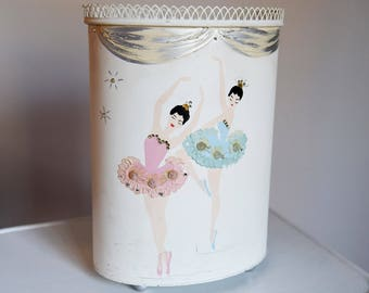 Wonderful Vintage Metal Trash Can - Ballerina