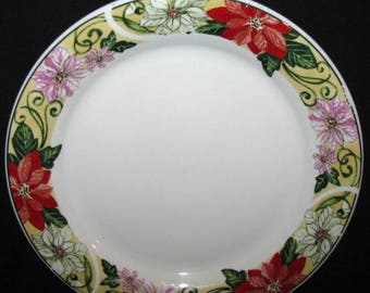 ON SALE REDUCED Home Essentials Poinsettia Scroll Dinner Plate Excellent Condition