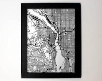 Portland Map, Laser Cut Map, Portland Oregon, Map of Portland, Personalized Gift, Portland Street Map, Portland Wall Art, Portland OR