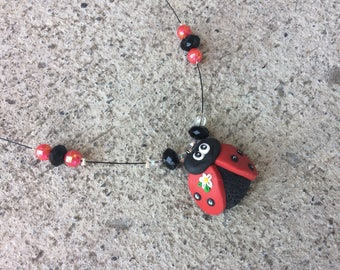 Red polymer clay Ladybug necklace