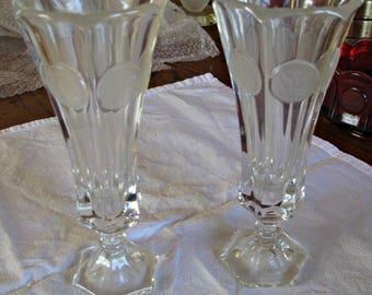 Fostoria Crystal Clear Coin Glass Bud Vases- vintage- pair of two