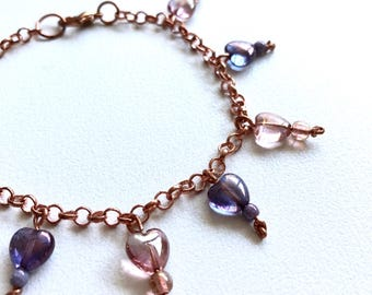 Bracelet Rose Gold Pink and Purple Hearts