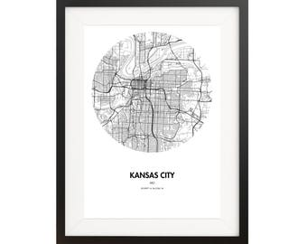 Kansas City Map Poster - 18 by 24 inch Map Print