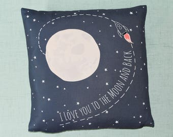 I Love You to the Moon and Back Decorative Pillow Cover - Throw Pillow Space Nursery Theme - Moon Nursery Theme - Match your nursery color