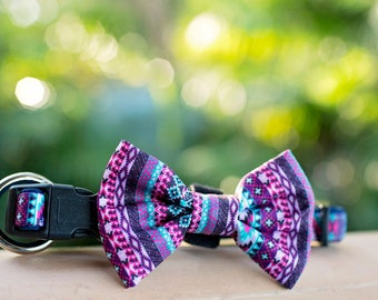 Purple Aztec Dog Collar & Bow Tie