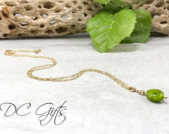 Gold Necklace, Handmade Jewelry, Gold Jewelry, Handmade Necklace, 14k Gold-fill Necklace, Jade Jewelry, Handmade Jade Necklace Jade Necklace