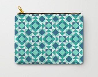 Turquoise Pouch, Graphic Bag, Back To School Gift, Makeup Pouches, Geometric Pouch, Pencil Pouch Set, Fabric Pouches, Cosmetic Bags