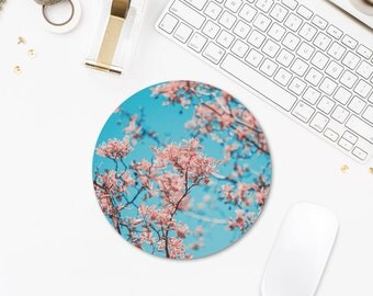 Floral Mousepad, Pink Flowers Mouse Pad Photo, Round Mousepad, Mouse Pad Trees, Office Gifts, Laptop Accessories, Computer Girl Gift. UL080