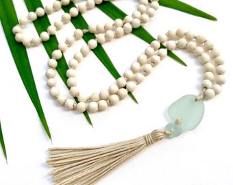 Sea glass necklace - Yoga tassel necklace - Yoga necklace - Mala Necklace - 108 Mala - 108 mala beads - Mala boho necklace - Yoga Jewelry