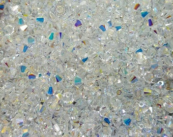 Swarovski 4mm Bicone Faceted Crystal Beads - Crystal AB - Select 10, 20, 50 or 100