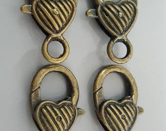 Patterned Lobster Claw Bronze/Antique Brass Finish Heart Clasp, 25.5x13x6.5mm - 4 Pieces