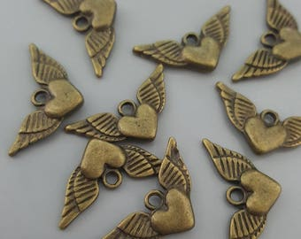 Angel Winged Double Sided Heart Charms, Antique Brass/Bronze, 26x12mm - 6 Pieces