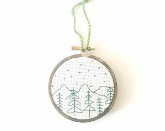 Wilderness Cross Stitch Ornament