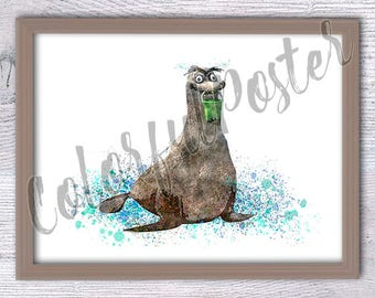 Gerald the Sea Lion watercolor poster Finding Dory art print Disney Sea Lions wall decor Nursery room wall art Kids room decoration V209